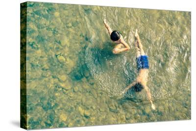 Playful Children Swimming in Nam Song River in Vang Vieng - Real Everyday Healthy Life and Fun of K-View Apart-Stretched Canvas Print