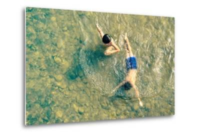 Playful Children Swimming in Nam Song River in Vang Vieng - Real Everyday Healthy Life and Fun of K-View Apart-Metal Print