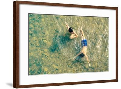 Playful Children Swimming in Nam Song River in Vang Vieng - Real Everyday Healthy Life and Fun of K-View Apart-Framed Photographic Print