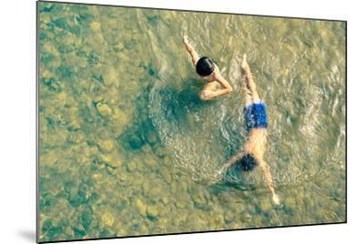 Playful Children Swimming in Nam Song River in Vang Vieng - Real Everyday Healthy Life and Fun of K-View Apart-Mounted Photographic Print