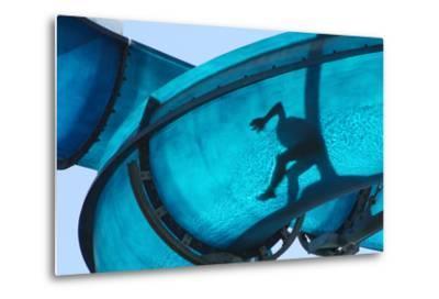Kid Sliding a Blue Waterslide- DWaschnig-Metal Print