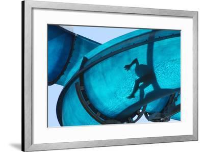 Kid Sliding a Blue Waterslide- DWaschnig-Framed Photographic Print