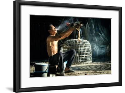 Man Cleaning Thai Gamecock- SantiPhotoSS-Framed Photographic Print