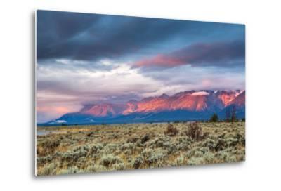 View of Grand Teton Mountain Range at Sunrise.-Victor Maschek-Metal Print