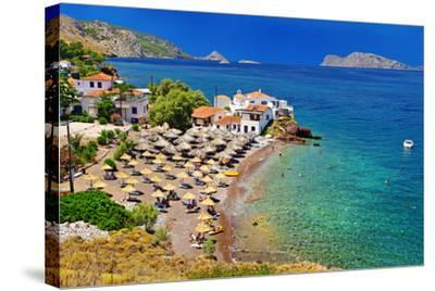 Pictorial Beaches of Greece - Hydra Island- leoks-Stretched Canvas Print