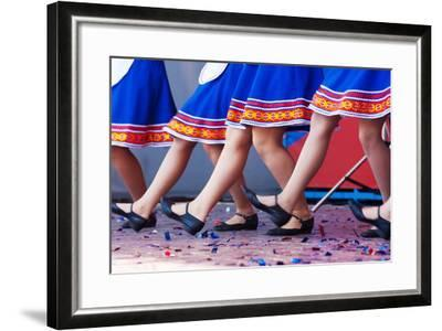 Russian Girls in Traditional Costumes Dancing on Stage. Legs Closeup- Radomir-Framed Photographic Print
