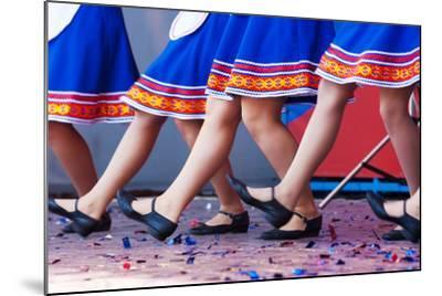 Russian Girls in Traditional Costumes Dancing on Stage. Legs Closeup- Radomir-Mounted Photographic Print