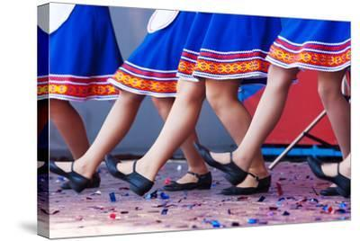 Russian Girls in Traditional Costumes Dancing on Stage. Legs Closeup- Radomir-Stretched Canvas Print