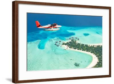 Sea Plane Flying above Maldives Islands-Jag_cz-Framed Photographic Print