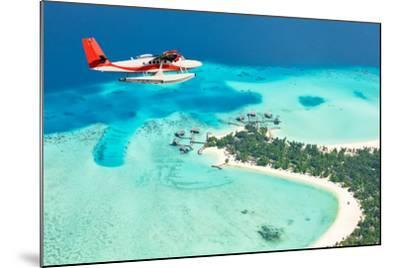 Sea Plane Flying above Maldives Islands-Jag_cz-Mounted Photographic Print