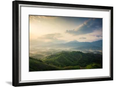 Mountains under Mist in the Morning in Zixi County, Fuzhou City,Jiangxi Province,China- Humannet-Framed Photographic Print