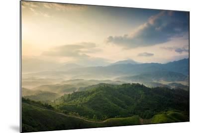 Mountains under Mist in the Morning in Zixi County, Fuzhou City,Jiangxi Province,China- Humannet-Mounted Photographic Print