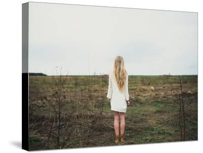 Beautiful Young Girl in the Spring Cloudy Day- Aleshyn_Andrei-Stretched Canvas Print