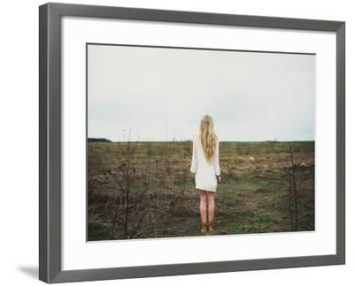 Beautiful Young Girl in the Spring Cloudy Day- Aleshyn_Andrei-Framed Photographic Print