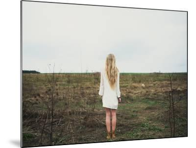 Beautiful Young Girl in the Spring Cloudy Day- Aleshyn_Andrei-Mounted Photographic Print