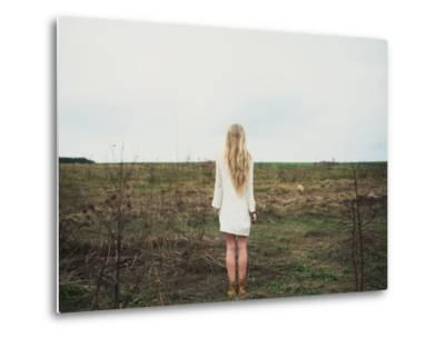 Beautiful Young Girl in the Spring Cloudy Day- Aleshyn_Andrei-Metal Print