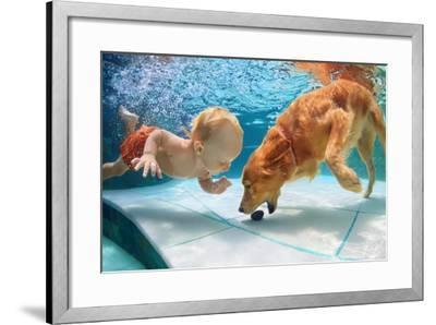 Funny Little Child Play with Fun and Train Golden Labrador Retriever Puppy in Swimming Pool, Jump A-Tropical studio-Framed Photographic Print