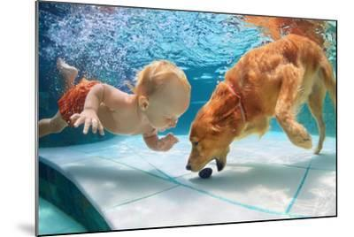 Funny Little Child Play with Fun and Train Golden Labrador Retriever Puppy in Swimming Pool, Jump A-Tropical studio-Mounted Photographic Print