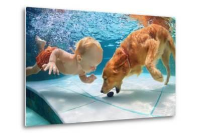 Funny Little Child Play with Fun and Train Golden Labrador Retriever Puppy in Swimming Pool, Jump A-Tropical studio-Metal Print