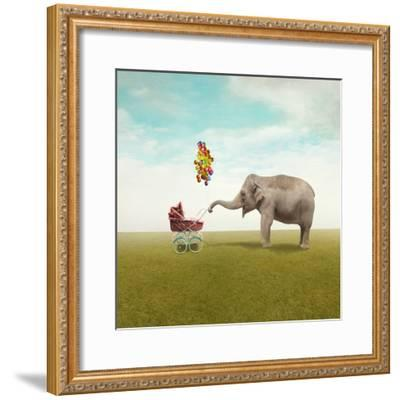 Funny Illustration with a Beautiful Elephant Leading Walking Her Child in a Wheelchair-Valentina Photos-Framed Photographic Print