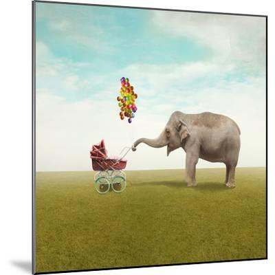 Funny Illustration with a Beautiful Elephant Leading Walking Her Child in a Wheelchair-Valentina Photos-Mounted Photographic Print