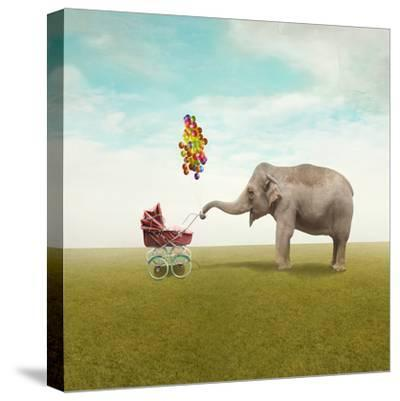 Funny Illustration with a Beautiful Elephant Leading Walking Her Child in a Wheelchair-Valentina Photos-Stretched Canvas Print