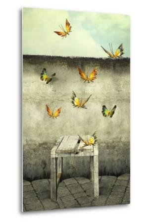 Many Colorful Butterflies Flying into the Sky with a Peeling Wall and a Bench, Illustrative Photo A-Valentina Photos-Metal Print
