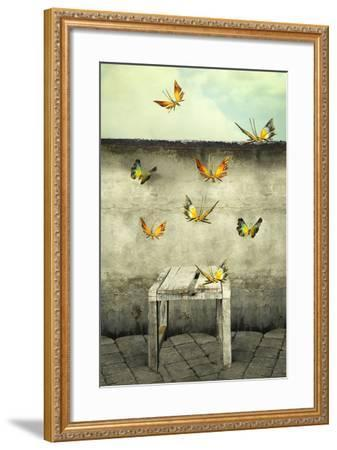 Many Colorful Butterflies Flying into the Sky with a Peeling Wall and a Bench, Illustrative Photo A-Valentina Photos-Framed Photographic Print