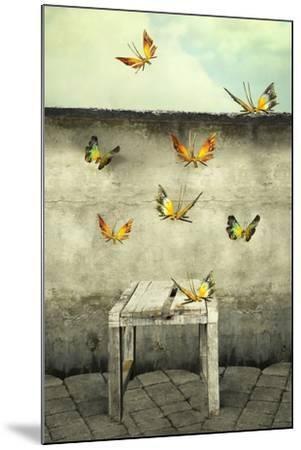 Many Colorful Butterflies Flying into the Sky with a Peeling Wall and a Bench, Illustrative Photo A-Valentina Photos-Mounted Photographic Print