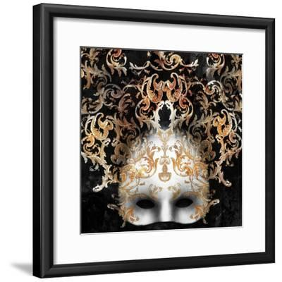 Beautiful and Elegant Venetian Mask with a Rich Baroque Decor on Black Background-Valentina Photos-Framed Photographic Print