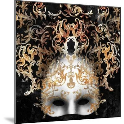Beautiful and Elegant Venetian Mask with a Rich Baroque Decor on Black Background-Valentina Photos-Mounted Photographic Print