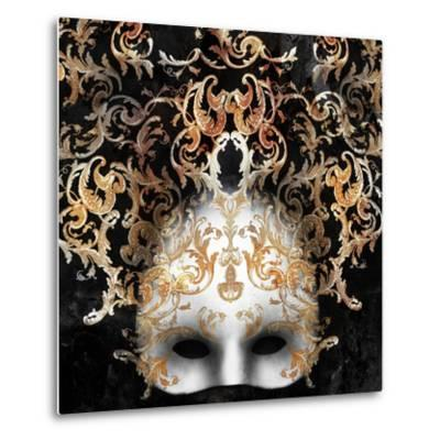 Beautiful and Elegant Venetian Mask with a Rich Baroque Decor on Black Background-Valentina Photos-Metal Print