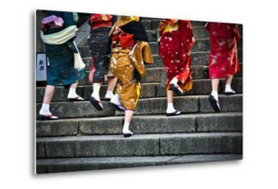 Japanese Ladies in Traditional Dress-Neale Cousland-Metal Print