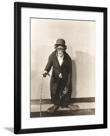 Monkey Dressed in Tight Overcoat and Bowler Hat-Everett Collection-Framed Photographic Print