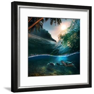 Tropical Paradise Template with Sunlight. Ocean Surfing Wave Breaking and Two Big Green Turtles Div-Willyam Bradberry-Framed Photographic Print