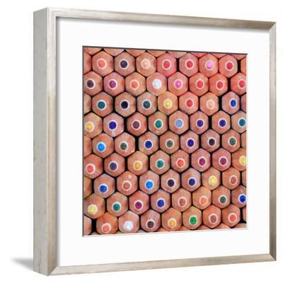 Pattern of Colorful Pastel Wooden Pencil Background- prapass-Framed Photographic Print