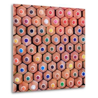 Pattern of Colorful Pastel Wooden Pencil Background- prapass-Metal Print