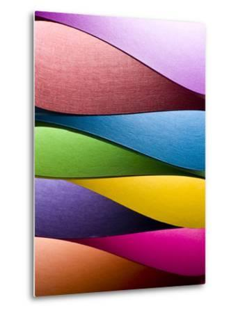 Colored Paper Background Stacked in Wedges-Steve Collender-Metal Print