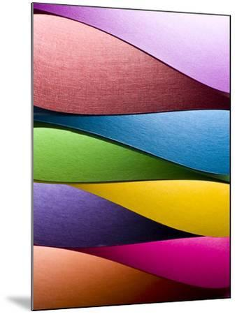 Colored Paper Background Stacked in Wedges-Steve Collender-Mounted Photographic Print