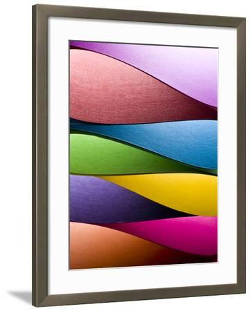 Colored Paper Background Stacked in Wedges-Steve Collender-Framed Photographic Print