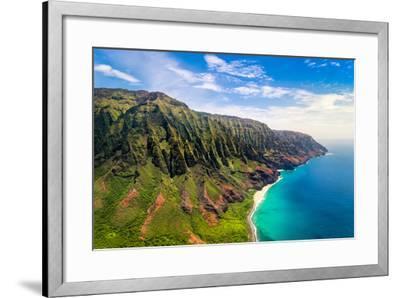 Aerial Landscape View of Spectacular Na Pali Coast, Kauai, Hawaii, USA-Martin M303-Framed Photographic Print