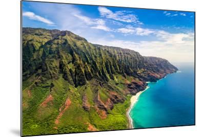 Aerial Landscape View of Spectacular Na Pali Coast, Kauai, Hawaii, USA-Martin M303-Mounted Photographic Print