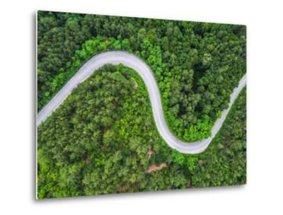 Aerial View over Mountain Road Going through Forest Landscape-Valentin Valkov-Metal Print