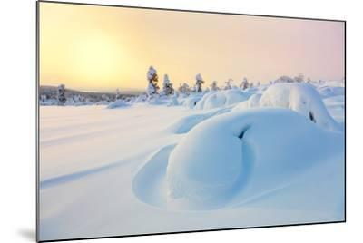 Beautiful Northern Winter Landscape - Sunset, Snow Covered Pine Trees and Big Snowbanks-Taiga-Mounted Photographic Print