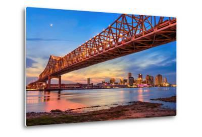 New Orleans, Louisiana, USA at Crescent City Connection Bridge over the Mississippi River.-Sean Pavone-Metal Print