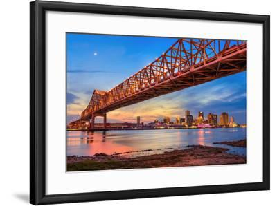 New Orleans, Louisiana, USA at Crescent City Connection Bridge over the Mississippi River.-Sean Pavone-Framed Photographic Print