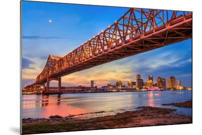 New Orleans, Louisiana, USA at Crescent City Connection Bridge over the Mississippi River.-Sean Pavone-Mounted Photographic Print
