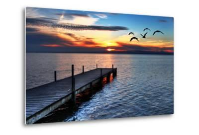 Gulls Fly over the Sea-kesipun-Metal Print