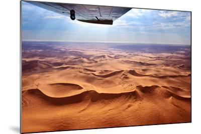 Beautiful Landscape of the Namib Desert under the Wing of the Aircraft at Sunset. Flying on a Plane-Oleg Znamenskiy-Mounted Photographic Print