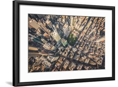 Aerial photograph taken from a helicopter in New York City, New York, USA-Stephane Legrand-Framed Photographic Print